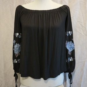 AEO Off-the-Shoulder Flower Embroidered Top